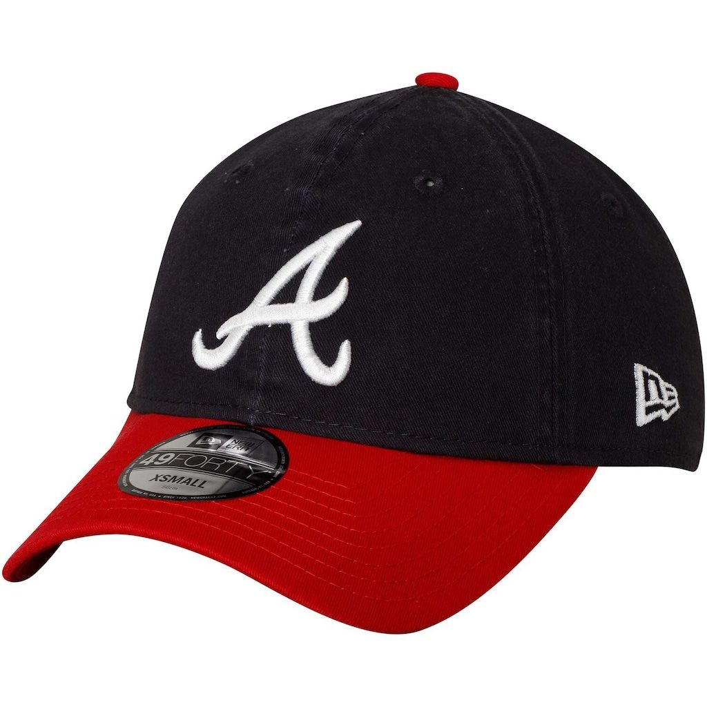 Men S New Era Navy Red Atlanta Braves Core Fit Replica 49forty Fitted Hat Size Xs Blue Atlanta Braves Hats For Men Atlanta