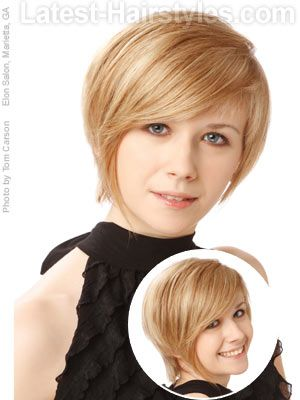 Short hairstyle that has bangs that frame a round face