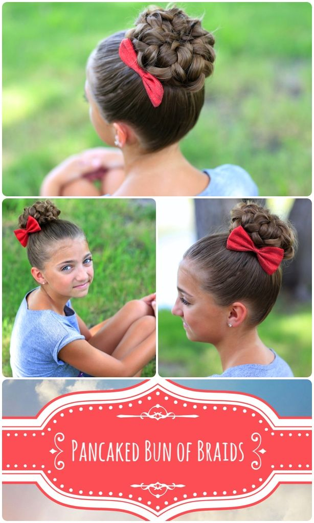 Pancaked Bun Of Braids Girl Hairstyles Hair Styles Hair Cute