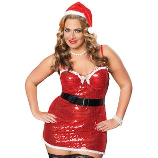 f673d73b4f3 STM-Lingerie Women s Plus Size 4 Piece Sequin Santa Dress   Thong w  Underwire  Support   Accessories at Sears.com
