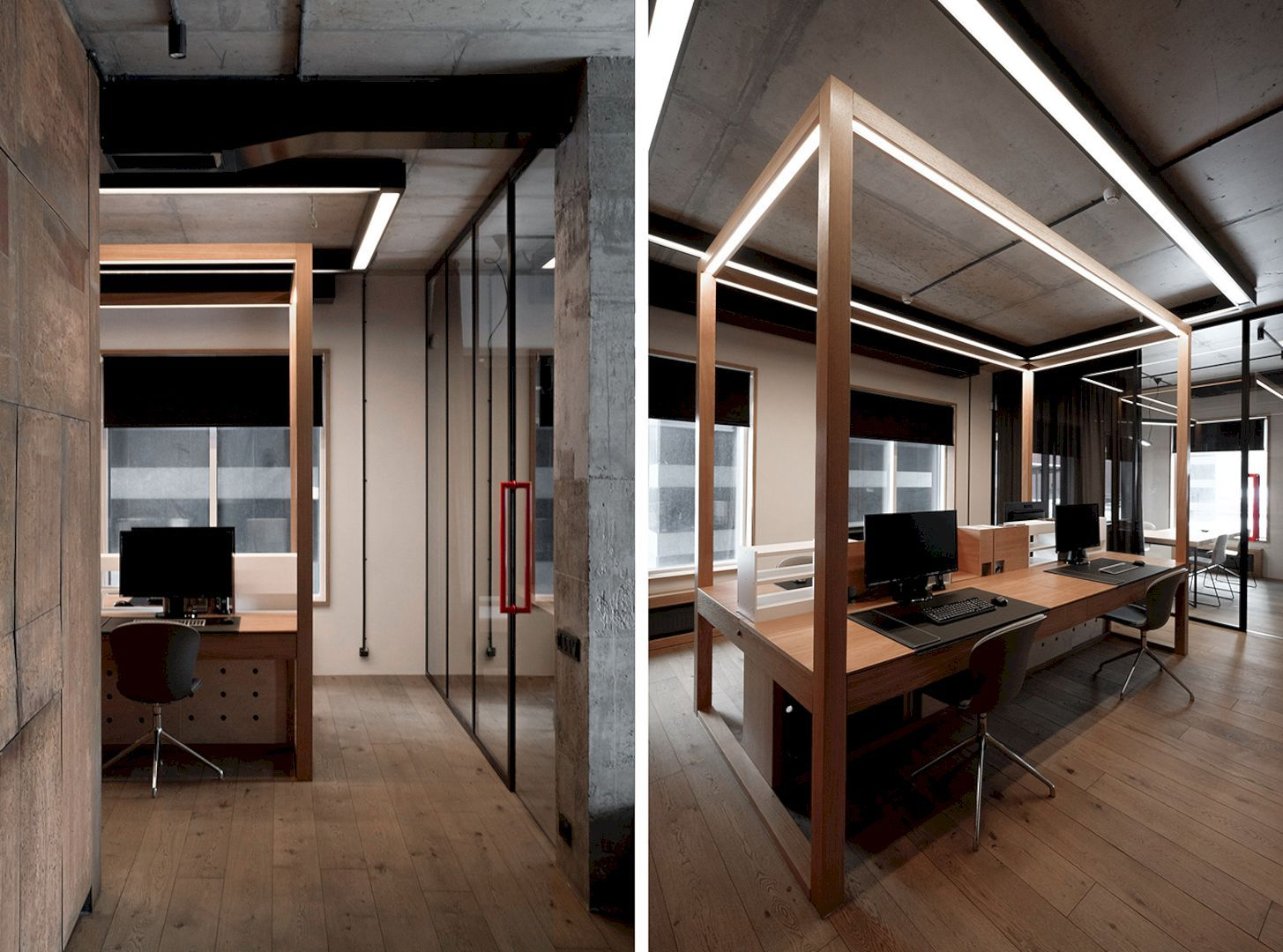 Trevisan Contemporary Interior Of A New Office With Wooden And