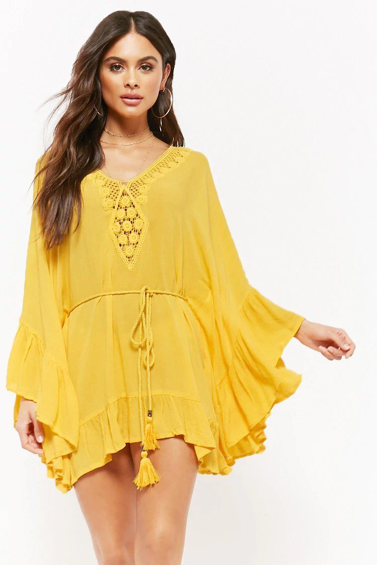 aed46f86c93f9 Amale Crochet-Panel Kaftan Swim Cover-Up | forever 21 | swim ...