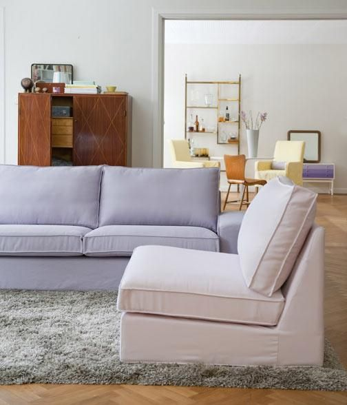 Dusty Rose Panama Cotton Cover From Bemz On An IKEA Kivik One Seater  Section And A Cover In Lavender Belgian Linen From Bemz On The Kivik Sofa.