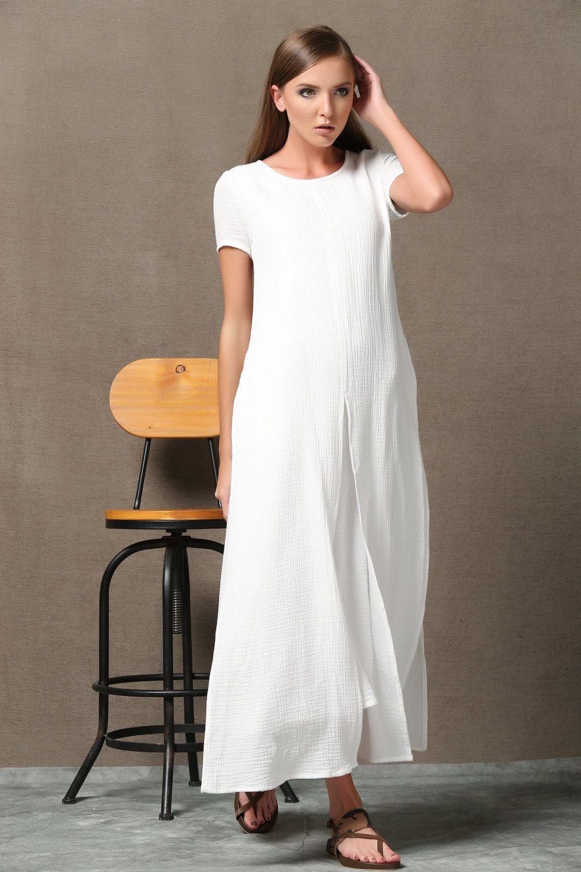 Plus size maxi dress linen dress white maxi dress