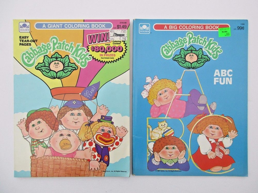 Vintage 1980s Cabbage Patch Kids Coloring Book Lot Golden Unused Cabbagepatchkids Coloringbooks Coloring Books Coloring For Kids Cabbage Patch Dolls