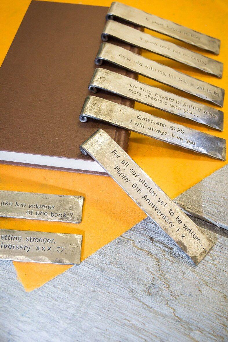 6th anniversary gift bookmark personalized iron