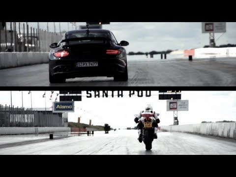 Porsche Gt2 Rs V Ducati 1199 Panigale The Drag Race Chris Harris On Cars Ducati 1199 Panigale Ducati Porsche