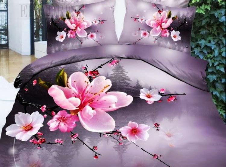 100 Cotton Pink Peach Blossom 3d Bedding Sets Bedding Sets