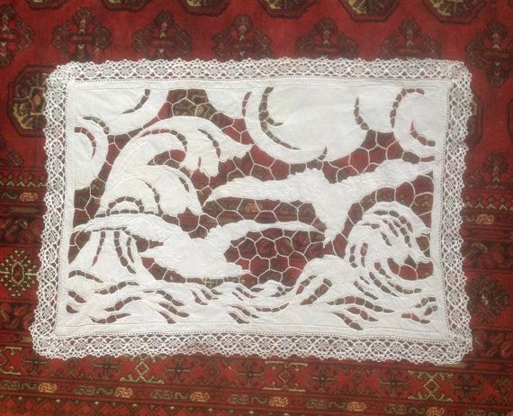 Check out Exquisite Antique French Richelieu Lace Placemat. Intricate Pattern. Metis/ cotton. Early  1900s. Delicate blanket stitch. Birds and Waves. on fleursenfrance