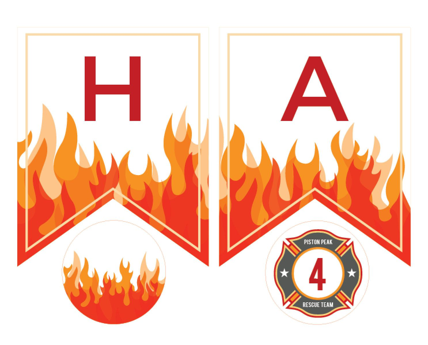 Printable Fire Birthday Banner For A Fireman Or Planes Fire Amp Rescue Birthday Party Just Type