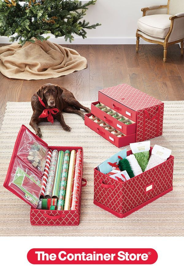 Our Coordinating Holiday 3 Drawer Ornament Chest Holiday Storage Chest And Wrap Tote Organizer Are S Ornament Storage Holiday Storage Christmas Tree Storage