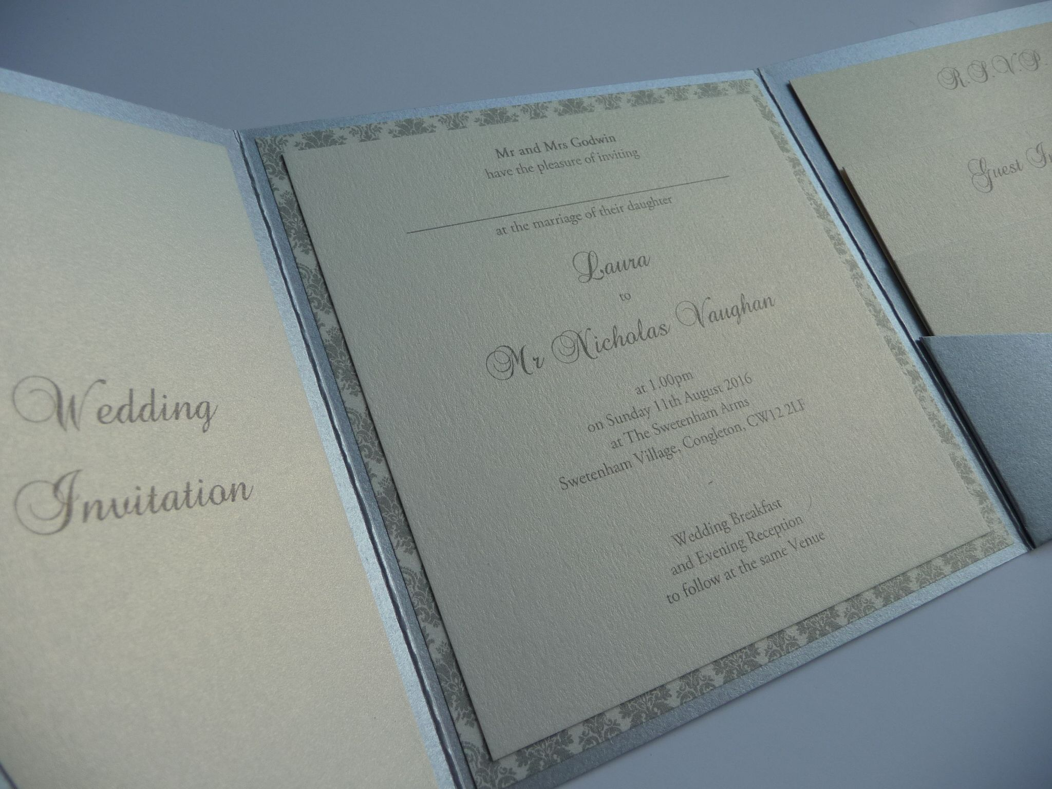 Silver and Ivory Damask themed Wedding invitations - patterned paper ...