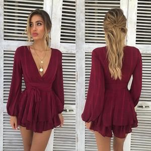 Rompers Jumpsuit V Neck Long Sleeve Casual Elegant Jumpsuit Short Playsuit Combinaison Overalls Lantern #shortbacklessdress