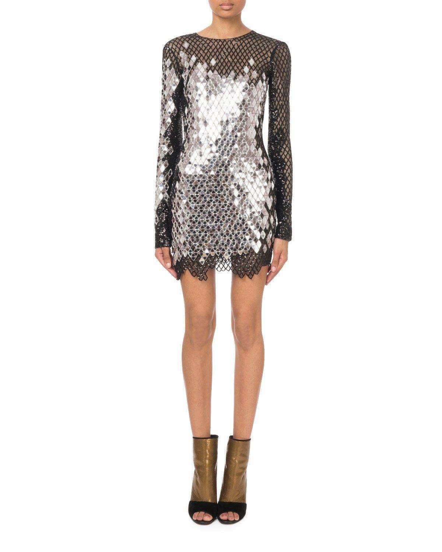 8f770c2072e Balmain Long-Sleeve Black-Silver Mirrored-Sequin Mesh Mini Dress ...