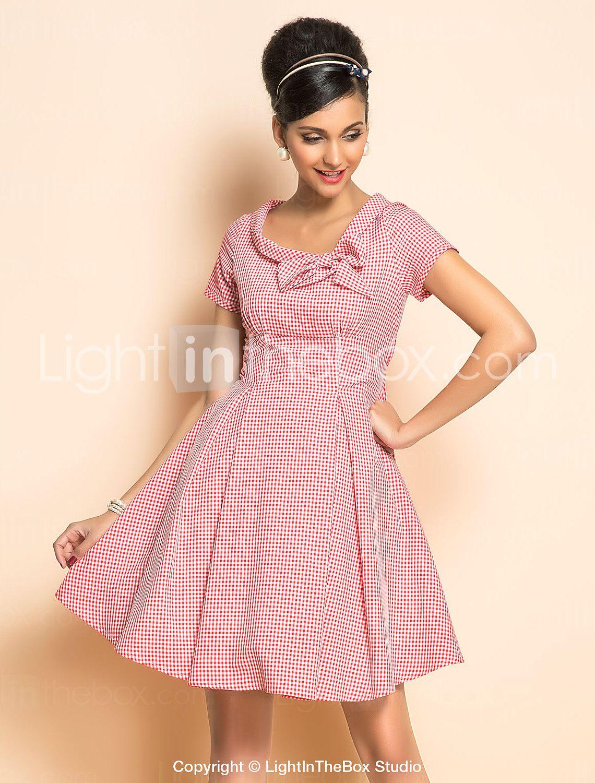 TS VINTAGE Rockabilly Girl Check Short Sleeve Dress | Pinterest ...