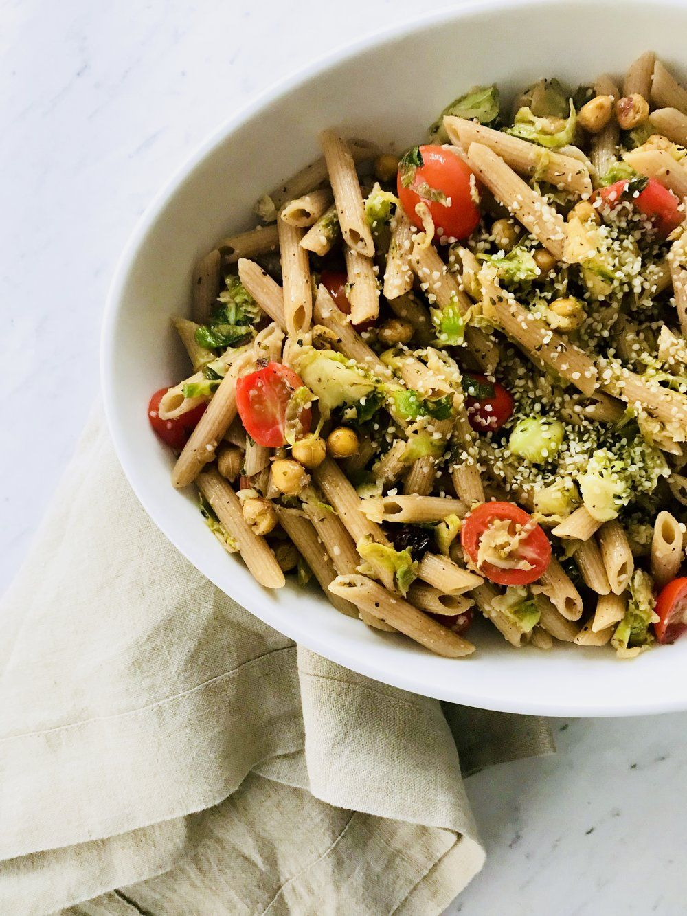 Pasta With Brussel Sprouts Crunchy Chickpeas Amp Hemp Seeds