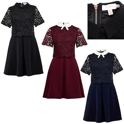 4543afa0a Ted Baker Dixxy Lace Bodice Double Layer Dress Navy Oxblood Black 12345