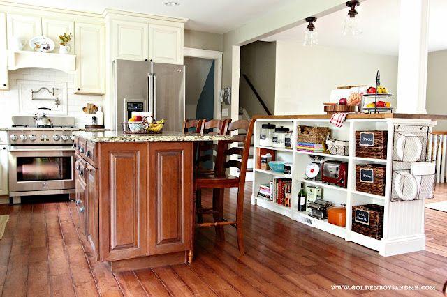 Bookshelves Turned Kitchen Island Ikea Hack (more details)