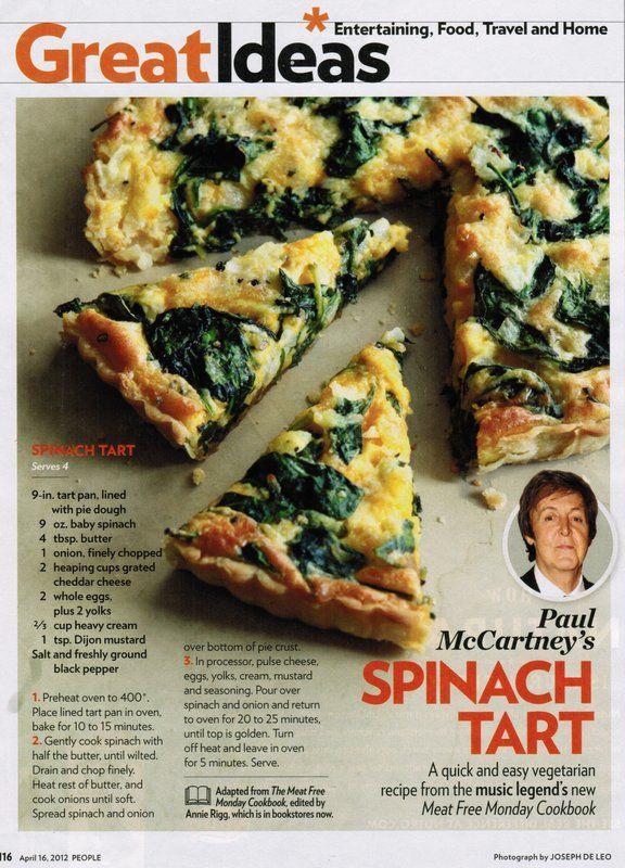 Paul McCartney's Spinach Tart in People Magazine