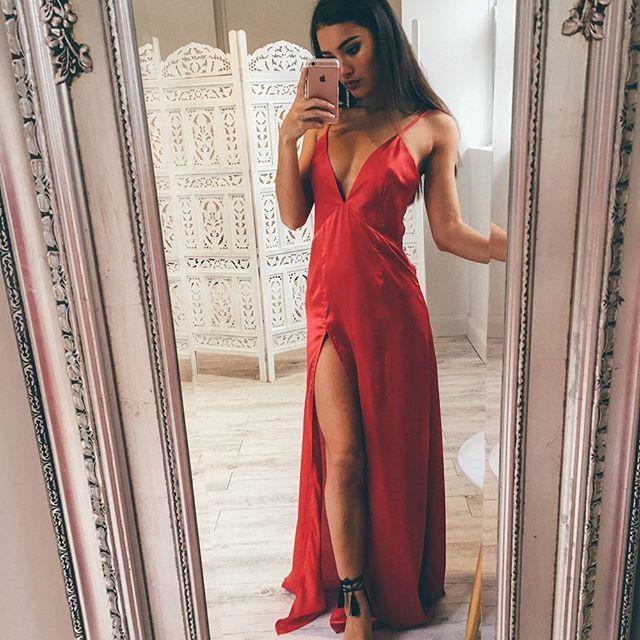 5de2eb8bdaf Sexy Red Spaghetti Strap Prom Dress