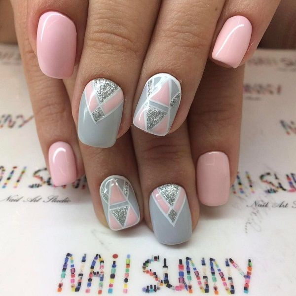 60 GEOMETRIC NAIL ART IDEAS | Pinterest | Geometric nail art, Pastel ...