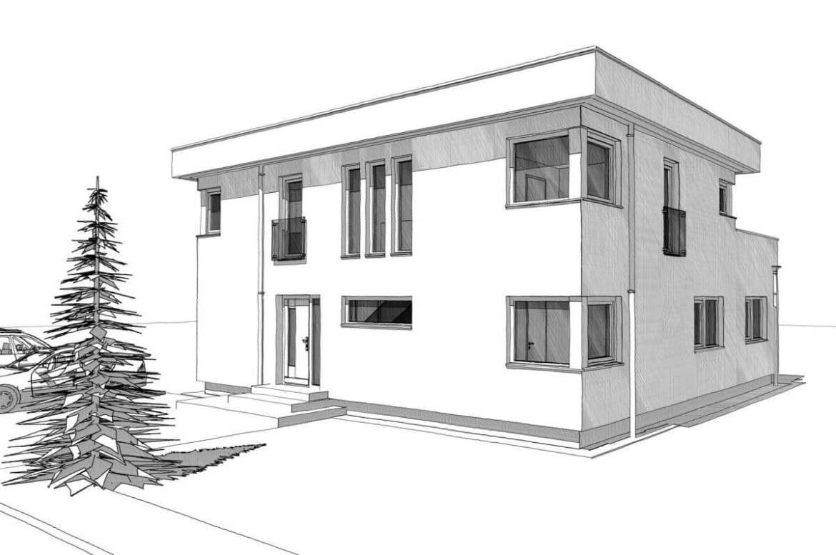 House Design With Flat Roof In Bauhaus Style Home Planssearch In 2020 Two Story House Design Flat Roof Bauhaus Style