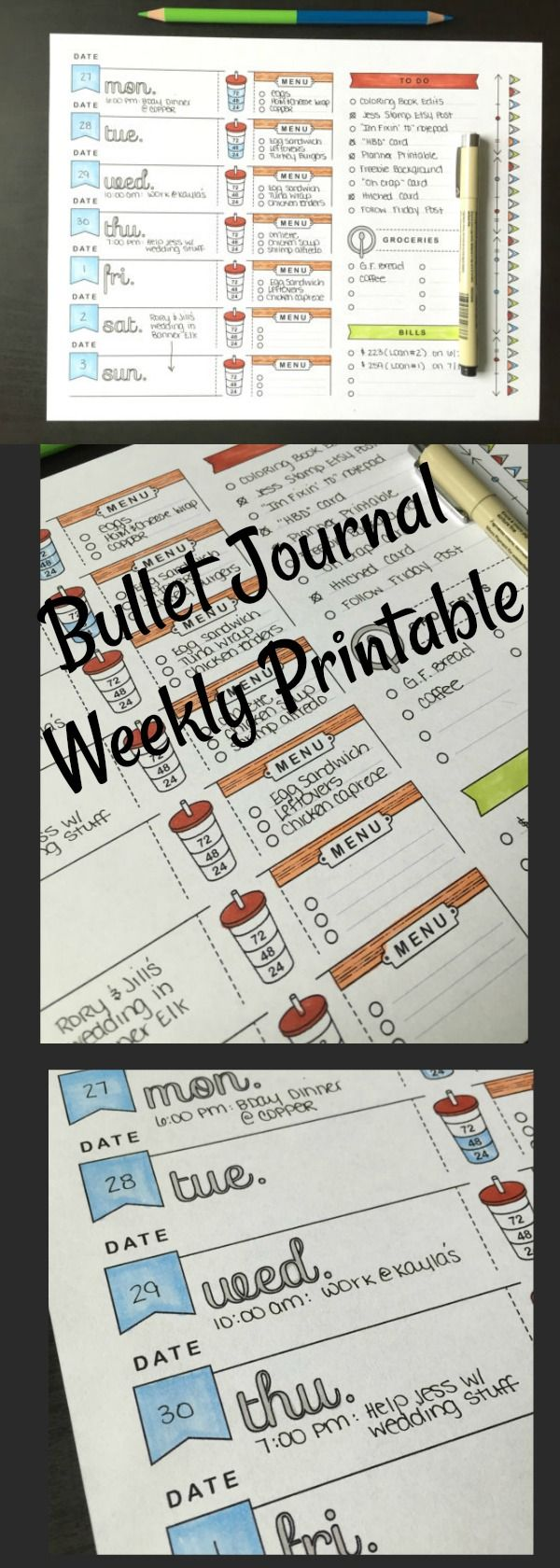 Bullet Journal Weekly Spread ~ A4, Printable Planner Page, Weekly ...