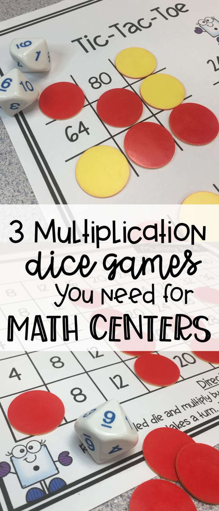 Multiplication Dice Games Math activities, Math centers