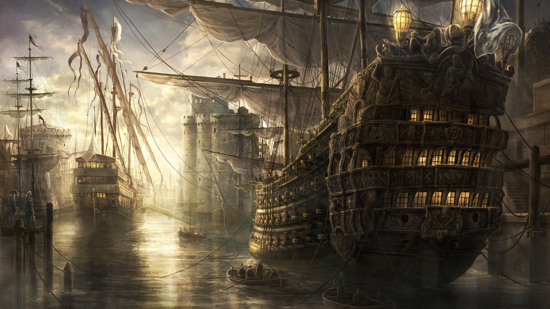 Old Sailing Ships in Harbour gaming games images pictures