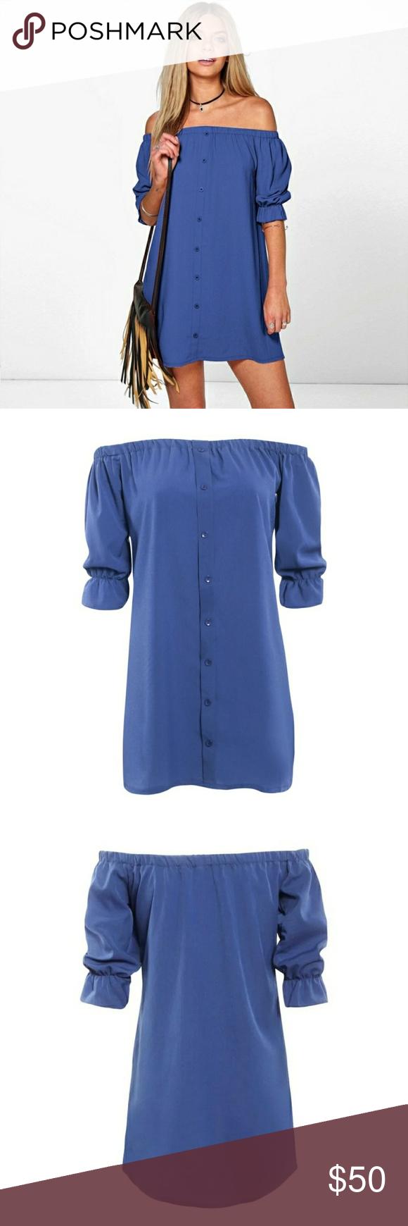 c67ee1f421 Elegant Off The Shoulder Button Down Shirt Dress