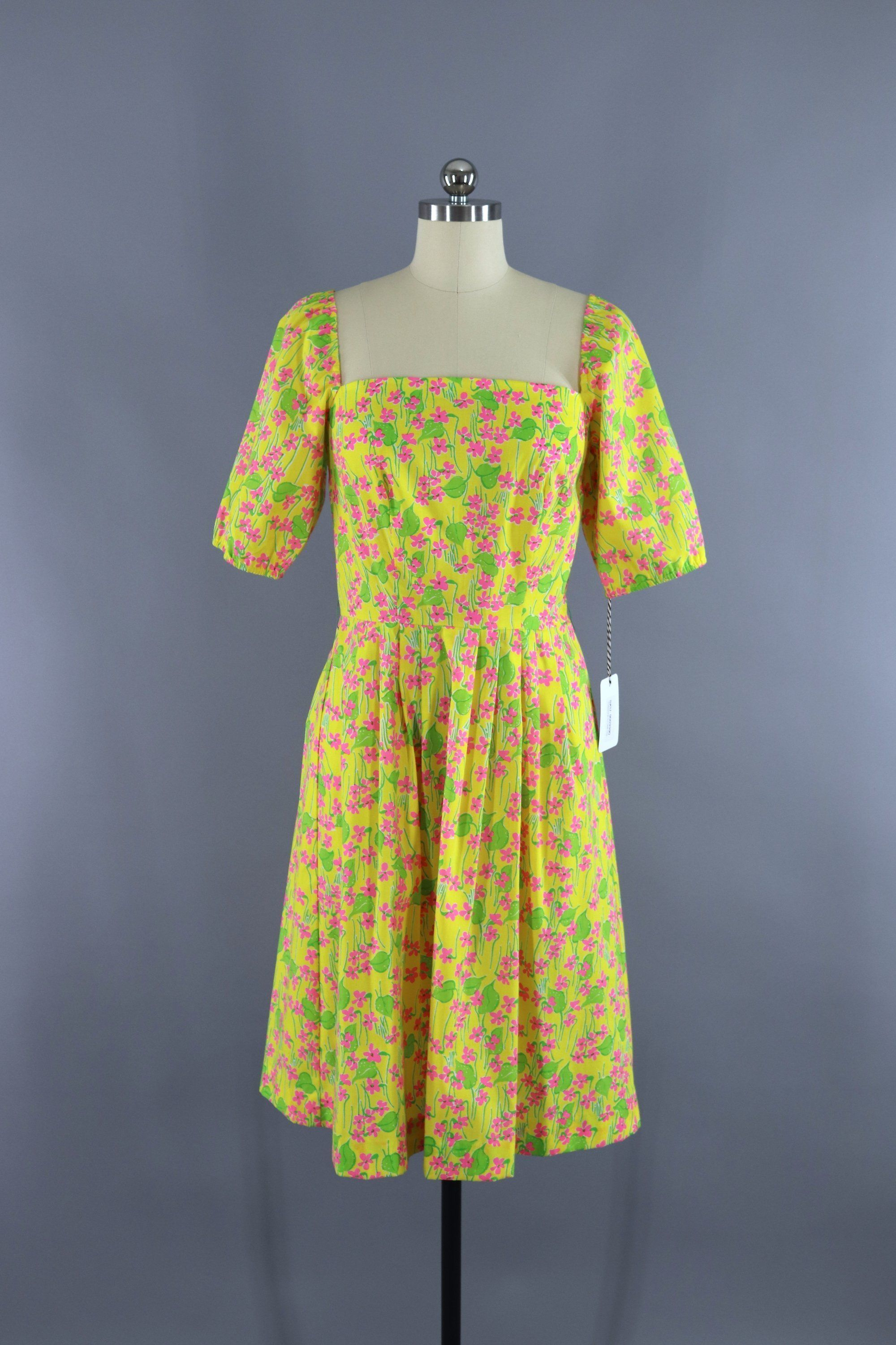 18681920431 Vintage 1960s Lilly Pulitzer Dress   Yellow   Pink Floral Print ...