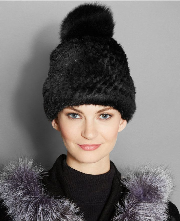 75e1651d8cf The Fur Vault Fox-Fur-Pom Knitted Mink Fur Beanie
