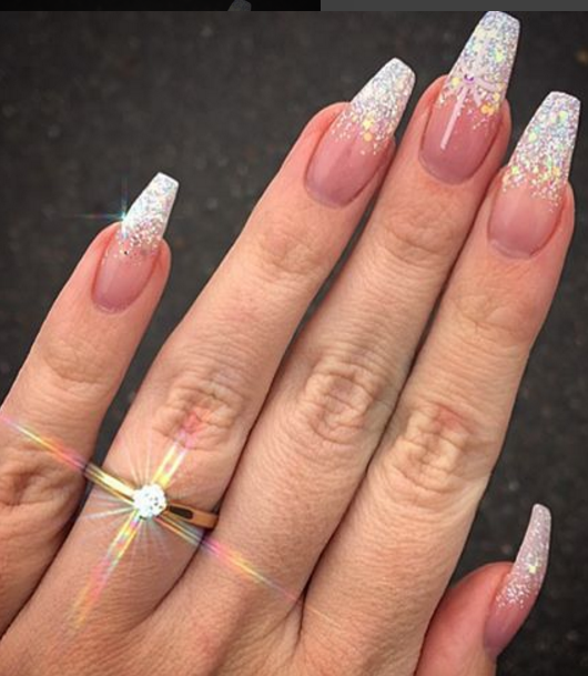 Ballerina Diamond Plus Loose Glitter Fade Nails Pinterest