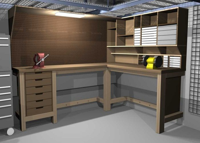 Usable-L-Shaped-Garage-Workbench-and-Storage-Designs
