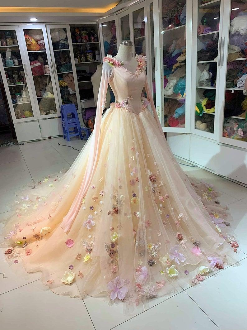 Aurora Inspired Gown Sleeping Beauty Costume Aurora Etsy In 2020 Fairytale Dress Disney Wedding Dresses Gowns