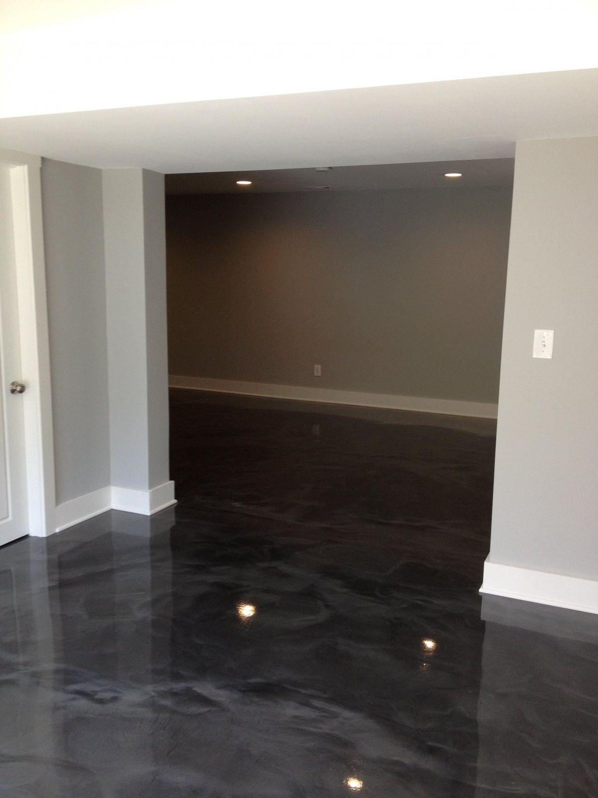 Xo.Myya🌹 Small basement bedroom, Concrete stained floors