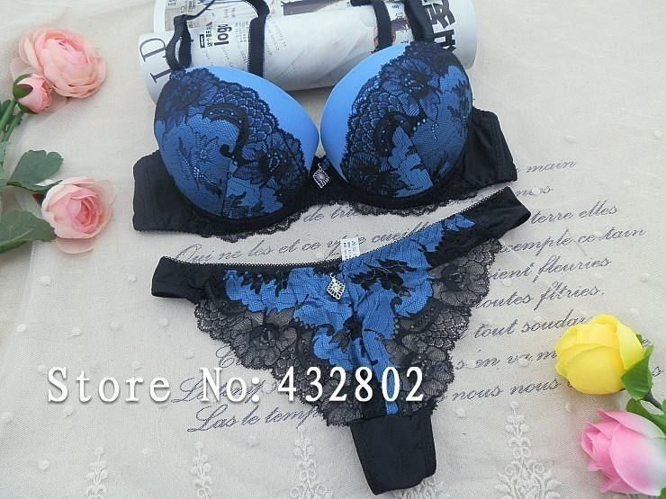 Push Up Padded Bra Sets Lace Royal Blue Women Ladies Underwear Lingerie Thong