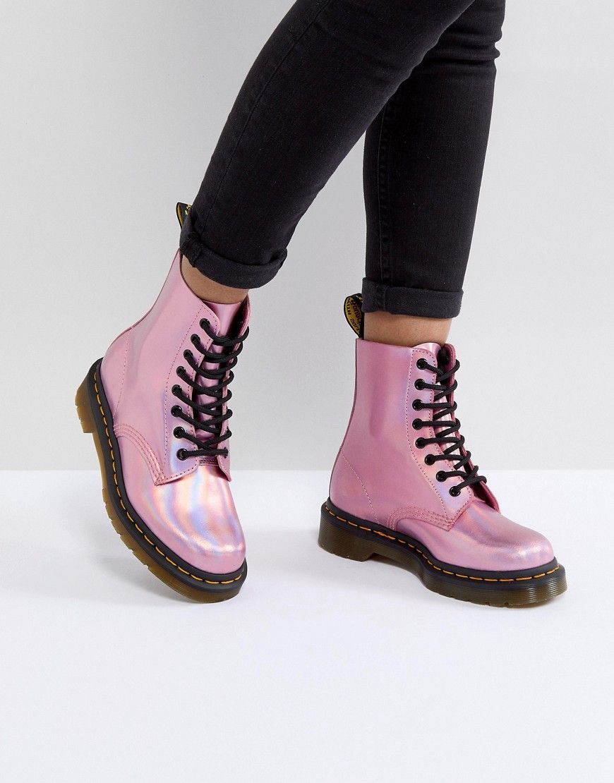 5f7a944a91740e DR MARTENS LEATHER HOLOGRAPHIC PINK LACE UP BOOTS - PINK.  drmartens  shoes
