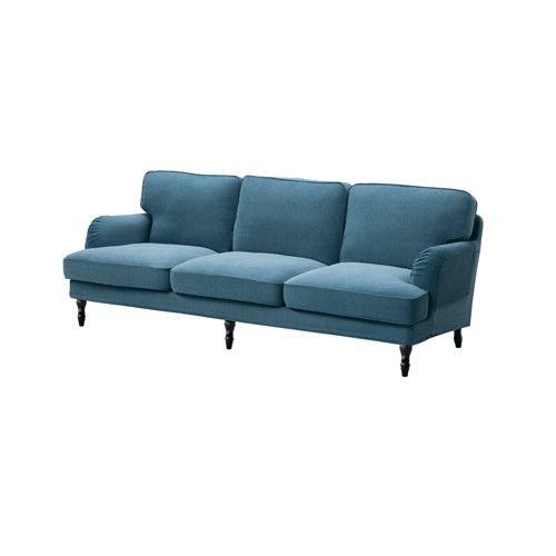 STOCKSUND 3,5er Sofa, Ljungen Blau, Schwarz/Holz Schwarz Ljungen Blau