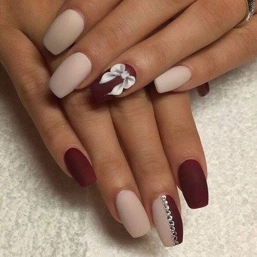 Immagine di nails red and art n a i l s pinterest nail loving the matte colors on this white and maroon nail art design matte always gives your design that sophisticated look and with addition of silver prinsesfo Images