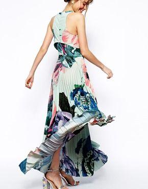 Maxi robe à corsage court plissé-  ASOS
