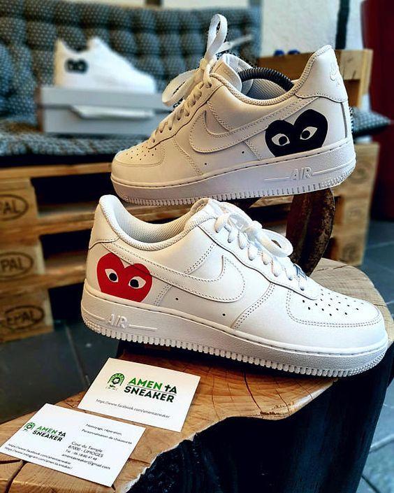 Nike Air Force 1 comme des garçons Red&Black custom réalisé ...