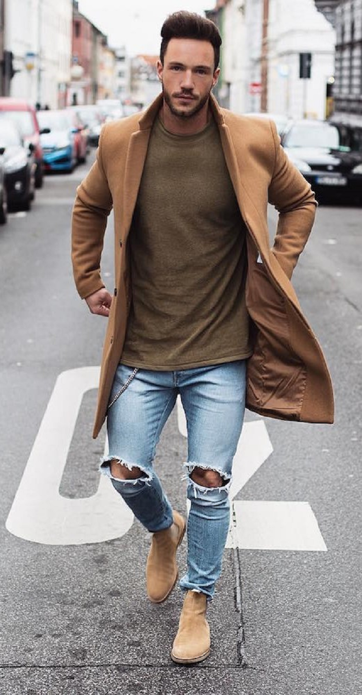 32 Outfits That Are Suitable To Be Used Together With Ripped Jeans Mens Casual Outfits Chelsea Boots Men Outfit Mens Winter Fashion