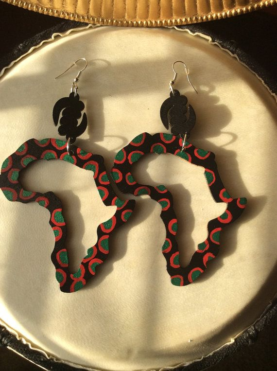 Hand painted African Map Earrings African Earrings by SaloneStarr