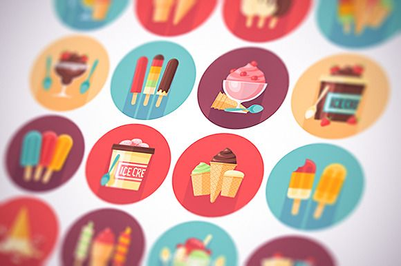 Ice cream flat circle icons set by painterr on @creativemarket