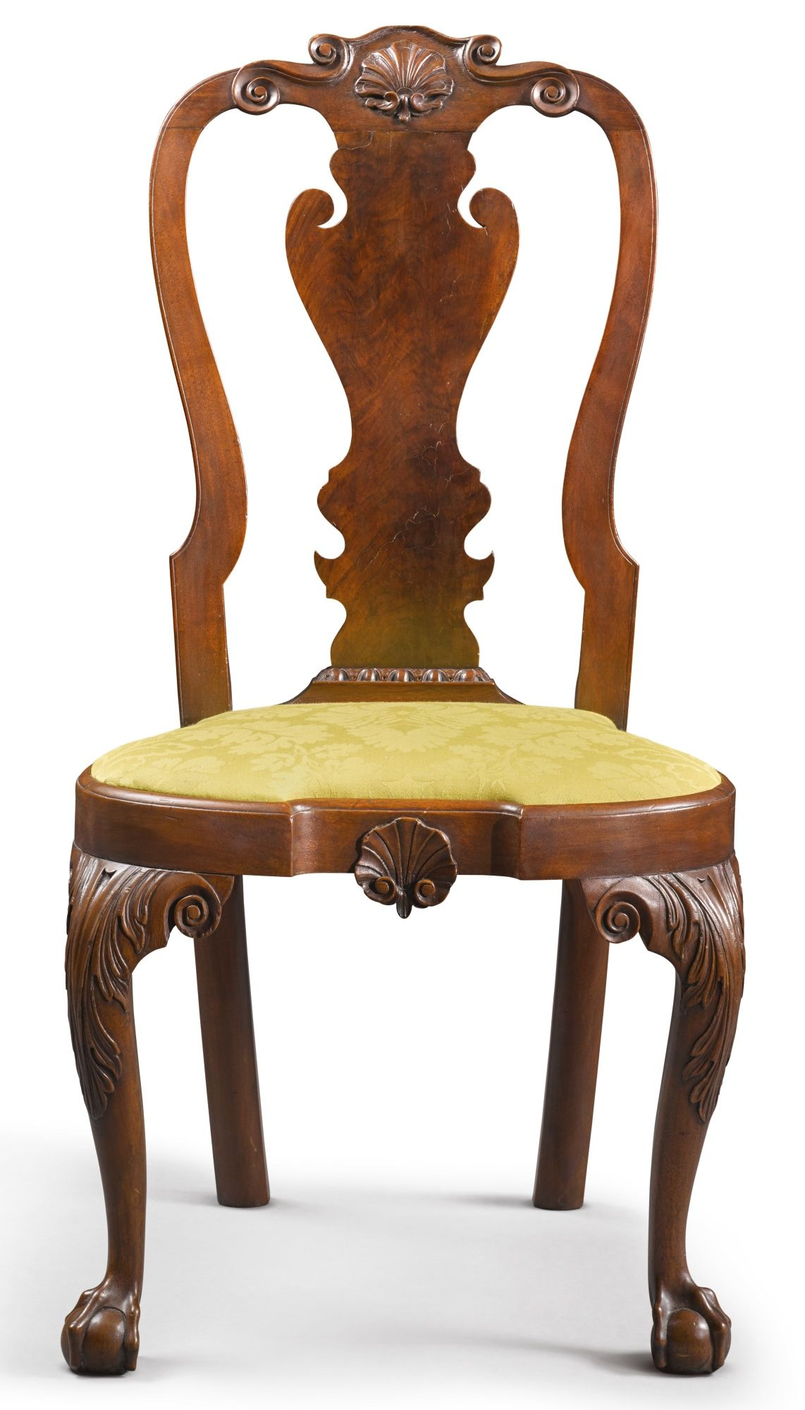 Important Queen Anne Carved Walnut Compass-Seat Side Chair, Philadelphia,  circa 1755 - Important Queen Anne Carved Walnut Compass-Seat Side Chair