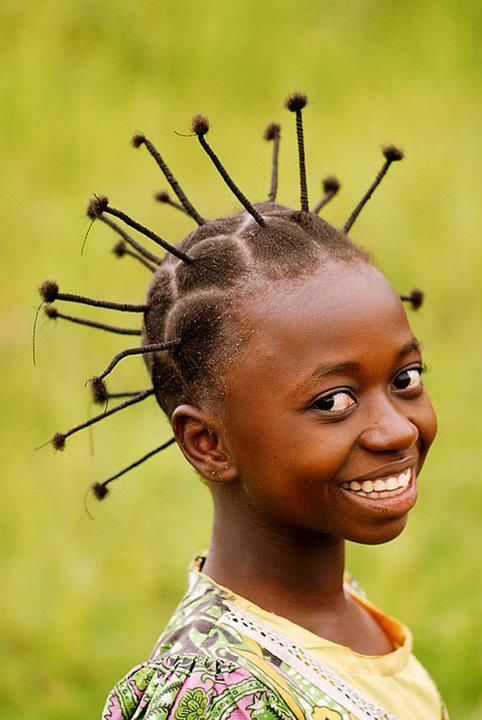 Nigerian Children Hairstyles Girl From Nigeria With Unique Hairstyle  Photography  Pinterest