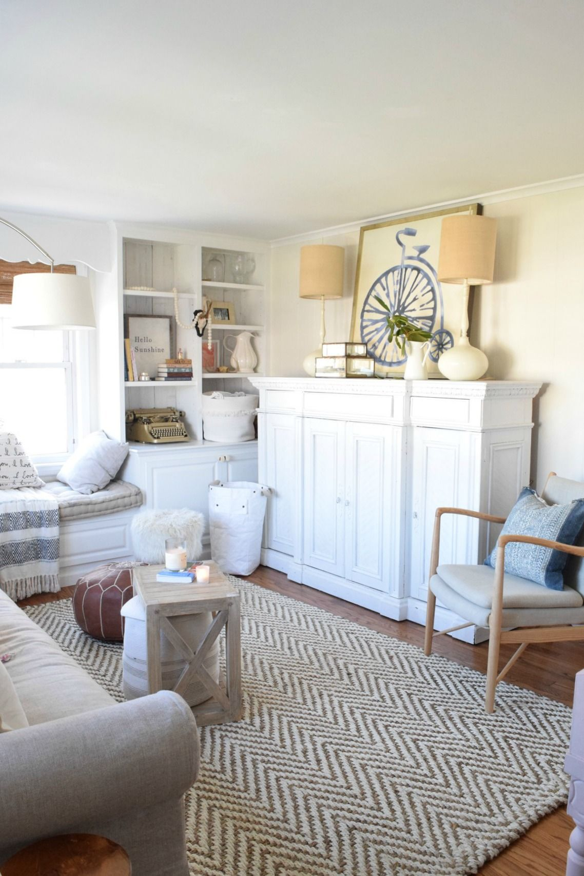 New Sofa in our Eclectic Beach Style Cape Front Room | Pinterest ...