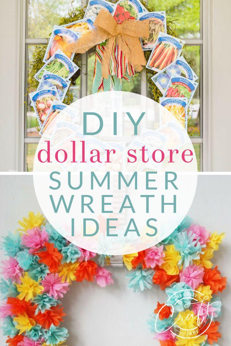 15 Beautiful Summer Wreaths Made From Dollar Store Supplies