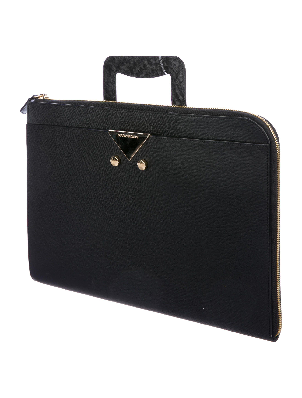 Men s black crosshatch leather Giorgio Armani portfolio with gold-tone  hardware 6cedea1070bb2